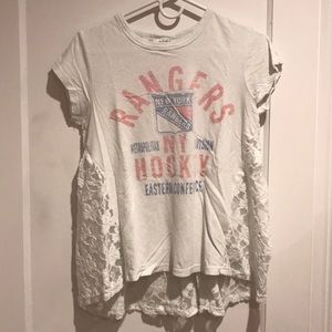 New York Rangers vintage look tee with lace back.
